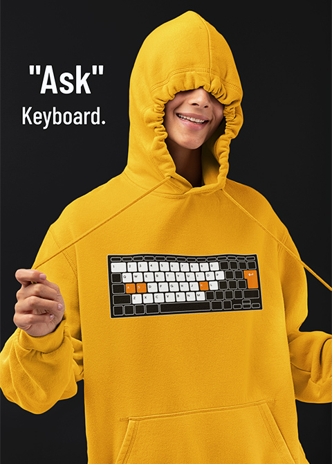 """Ask"" Keyboard. パーカー着用イメージ"